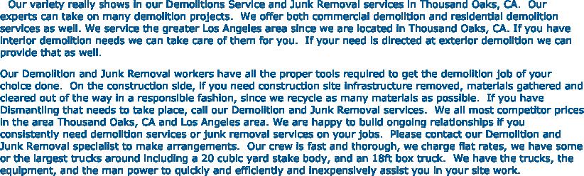 oaks junk removal and dumpster rental 805 277 0622